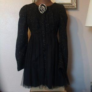 RYU Black Shimmer Tweed/Tulle Coat